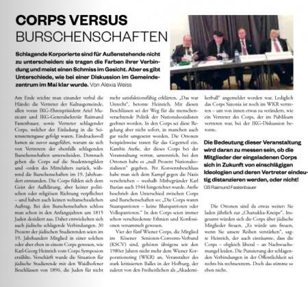 Die GEMEINDE insider: Corps versus Burschenschaften