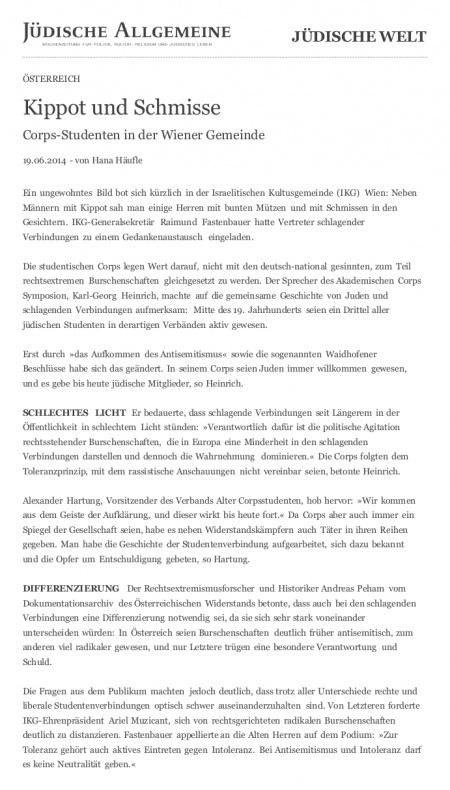 Jüdische Allgemeine: Kippot und Schmisse
