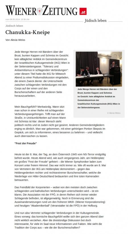 Wiener Zeitung: Chanukka-Kneipe (1/4)